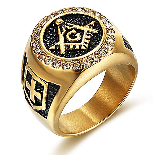 18K Gold-Plated Cross Shield Masonic Ring - SolomonsOrder