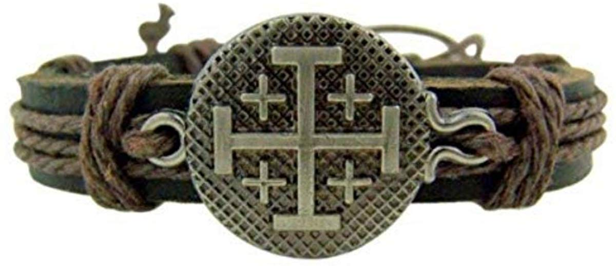 The Jerusalem Crusaders Cross Leather Bracelet - SolomonsOrder