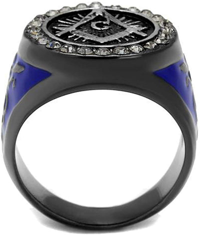 Freemason Black and Blue Ion Plated Ring - SolomonsOrder