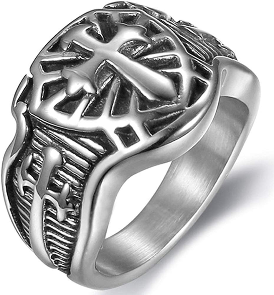 Crusader Sword Cross Medieval Shield Ring - SolomonsOrder