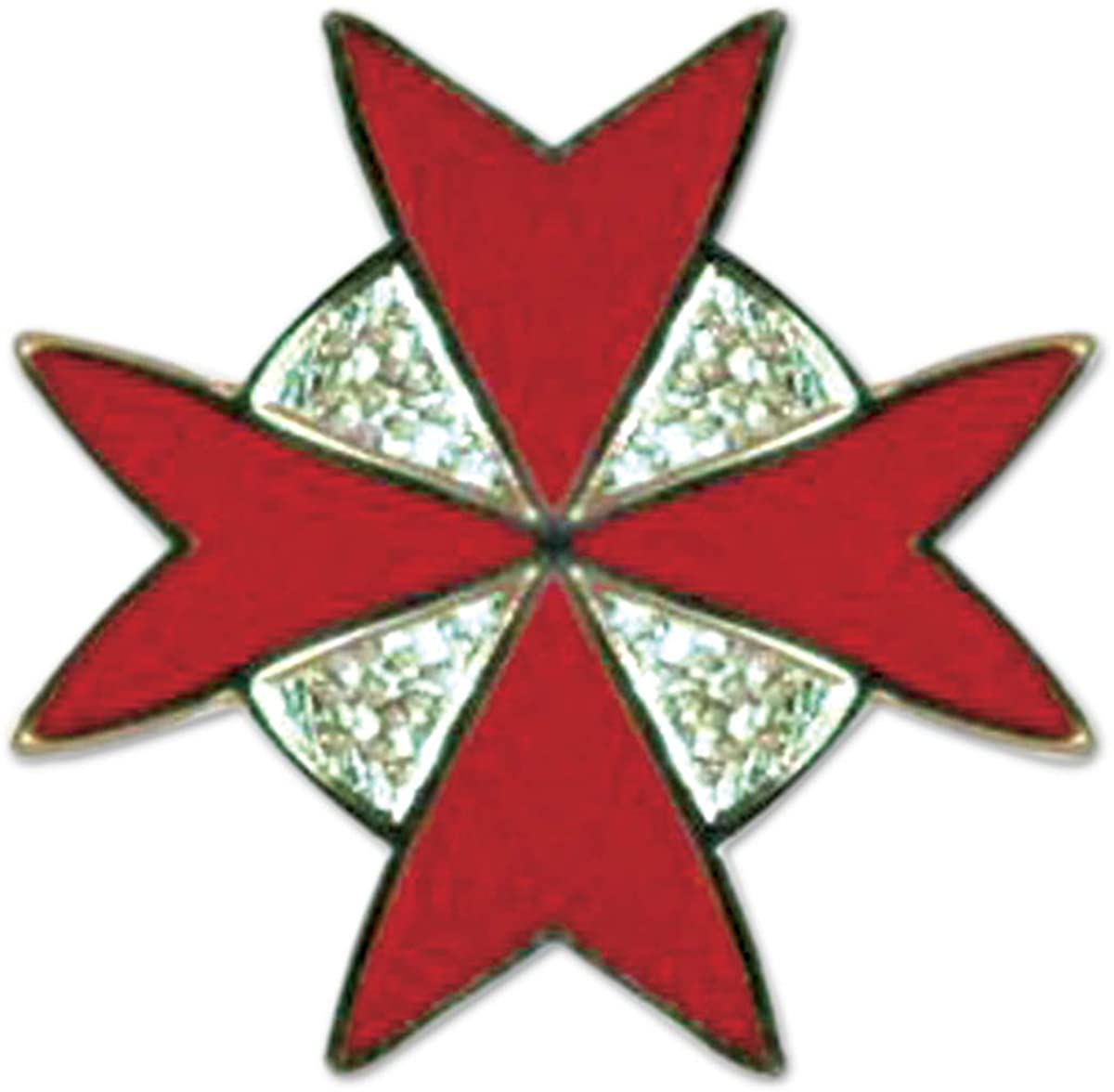 Maltese Cross Red Freemasonic Lapel Pin - SolomonsOrder