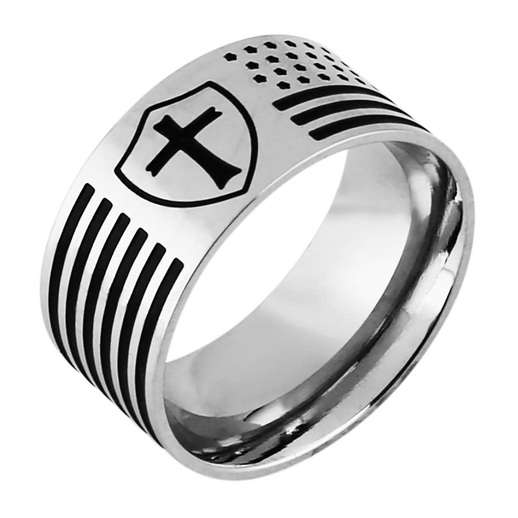 American Flag Cross Stainless Steel Knight's Templar Ring - SolomonsOrder