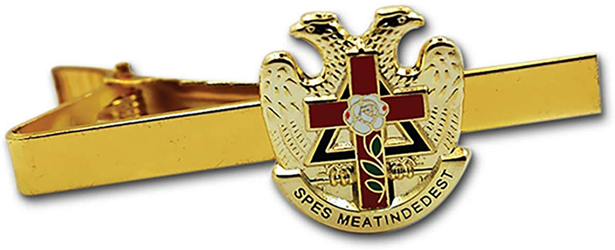 "32nd Degree Rose Croix Cross Scottish Rite Gold & Red Masonic Tie Clip - 7/8"" Tall - SolomonsOrder"