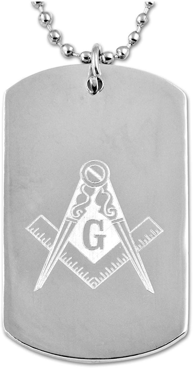 Engraved Square & Compass Silver Masonic Dog Tag - SolomonsOrder
