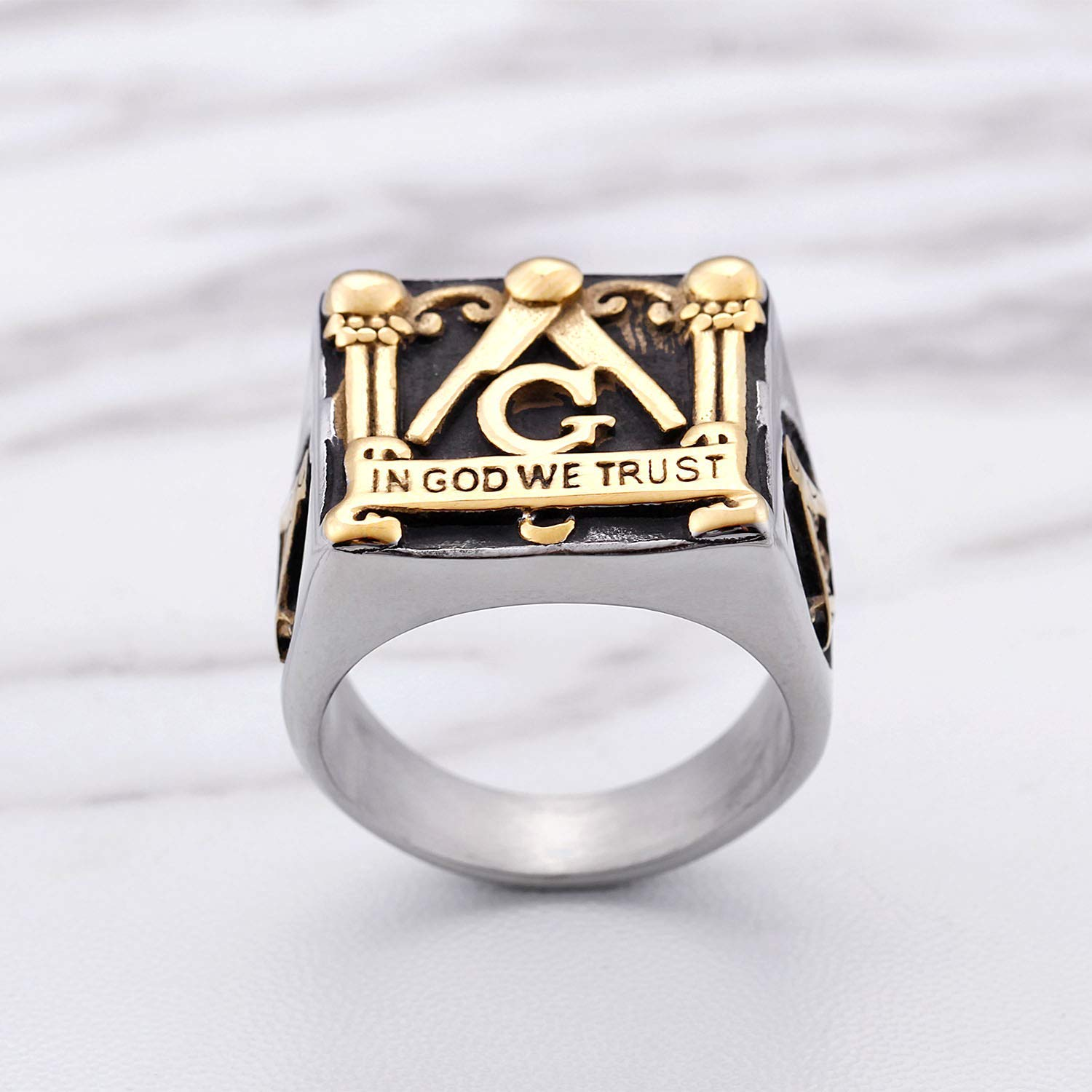 """In God We Trust"" Masonic Ring - SolomonsOrder"