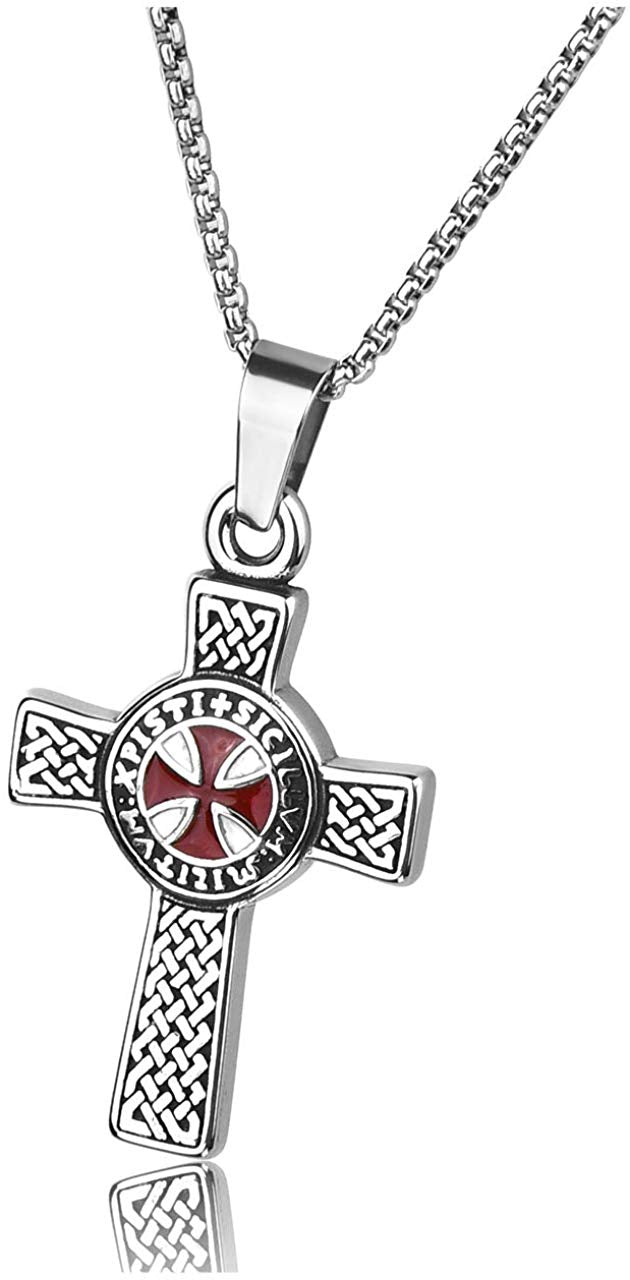 Knights Templar Cross Stainless Necklace - SolomonsOrder