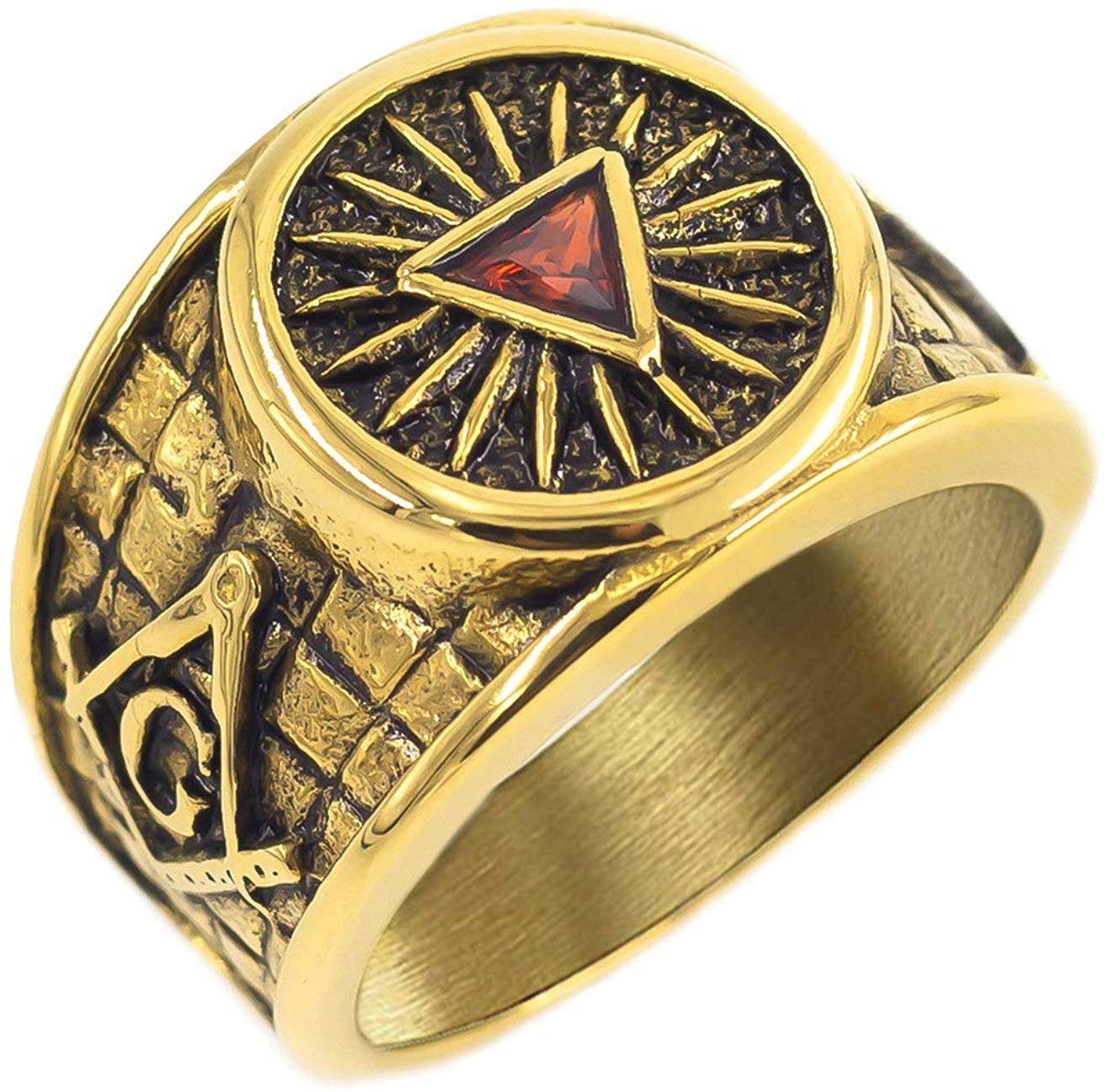 Triangle Round Freemason Ring - SolomonsOrder