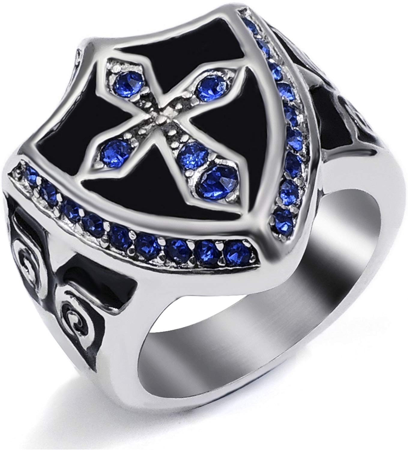 Cross Noble Knight Stainless Steel Ring - SolomonsOrder