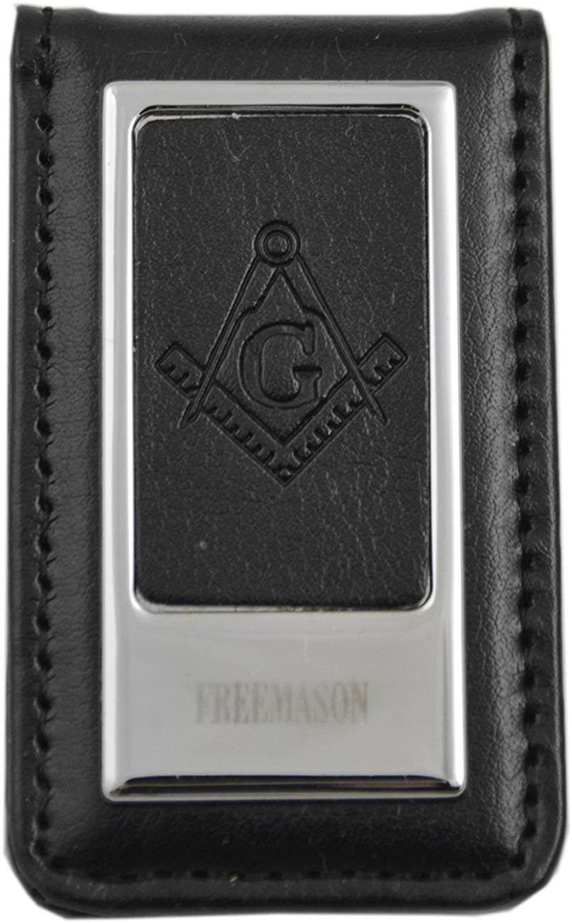Black Leather Masonic Money Clip - SolomonsOrder