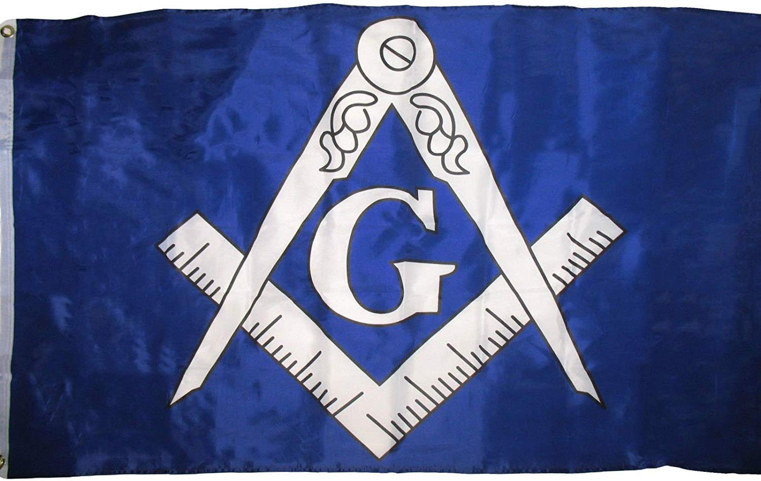 Blue and White Mason Masonic 3x5 Flag - SolomonsOrder