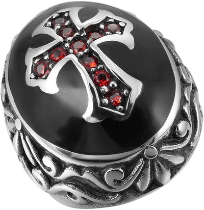KNIGHTS TEMPLAR BLACK AND RED STAINLESS RING - SolomonsOrder