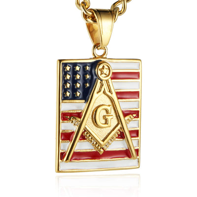 18k Gold Plated Freemason Dog Tag - SolomonsOrder