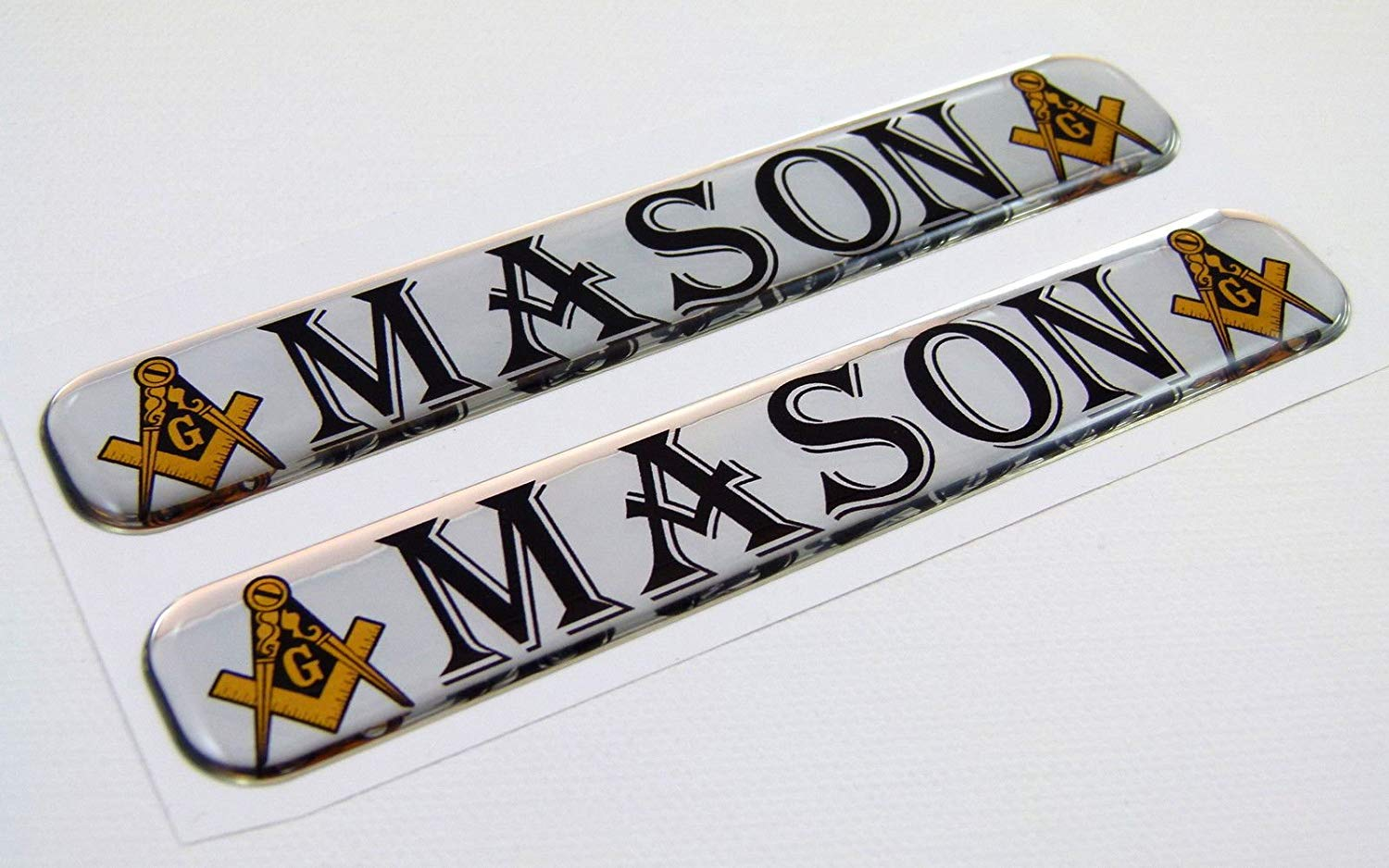 "Masonic Domed Decal 5""x 0.82"" 2pc. - SolomonsOrder"