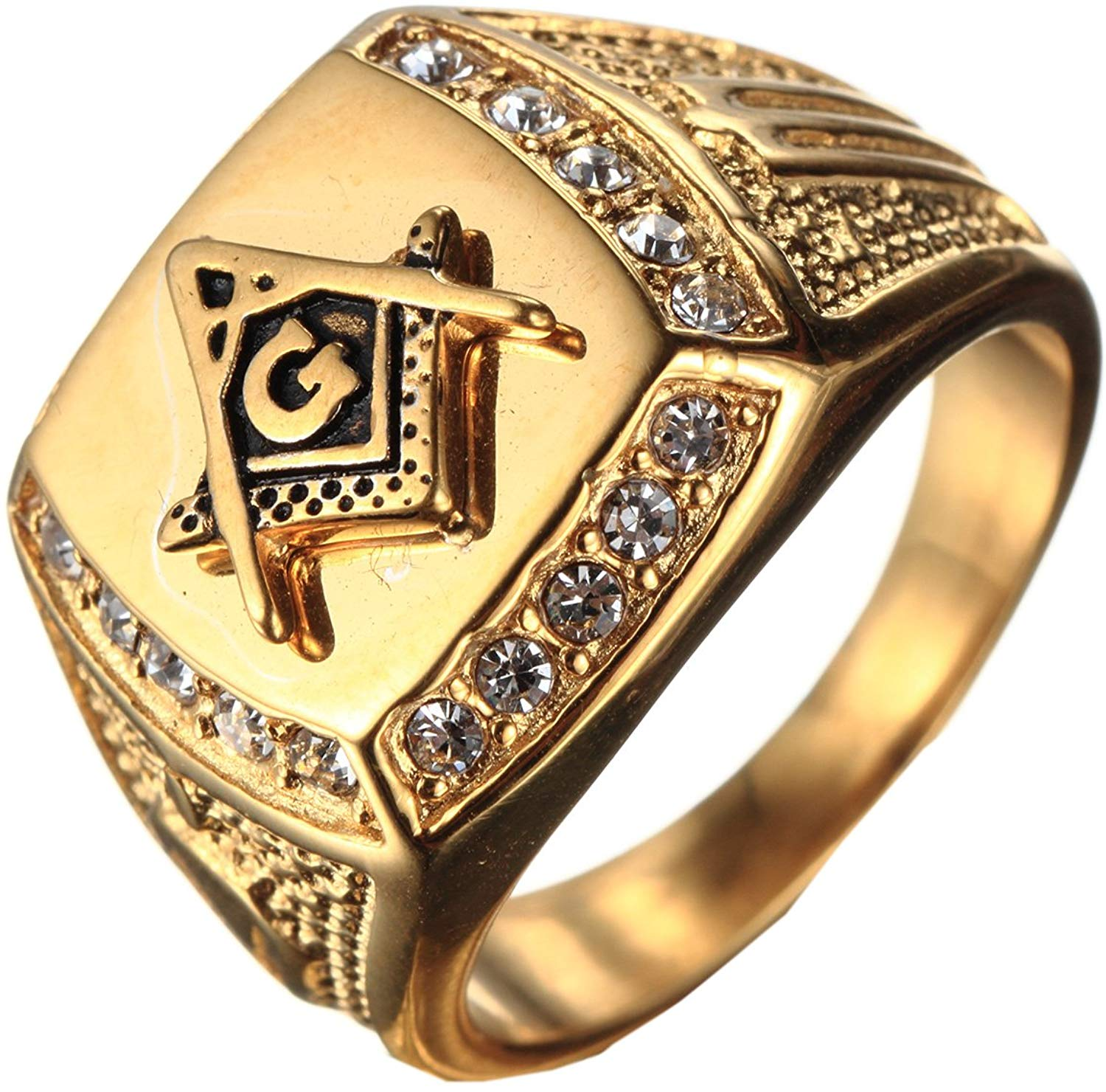 Freemason Gold Plated Stainless Steel Rings - SolomonsOrder
