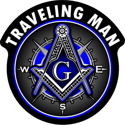"""Traveling Man"" Shriner Freemason Compass Decal Sticker (4"") - SolomonsOrder"