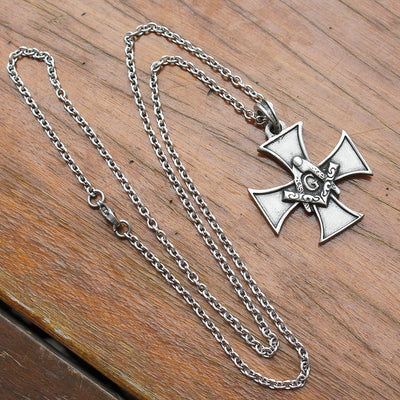 Freemason Warrior Cross Pendant With Steel Chain Necklace - SolomonsOrder