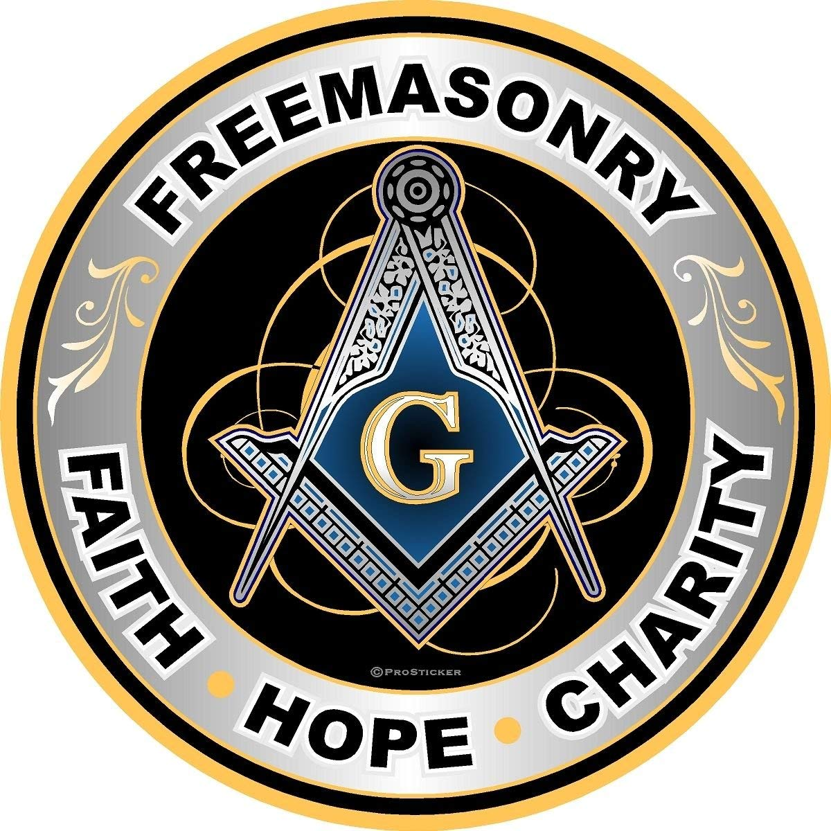"""Freemasonary, Faith, Hope, Charity"" Compass Decal Sticker (4"") - SolomonsOrder"