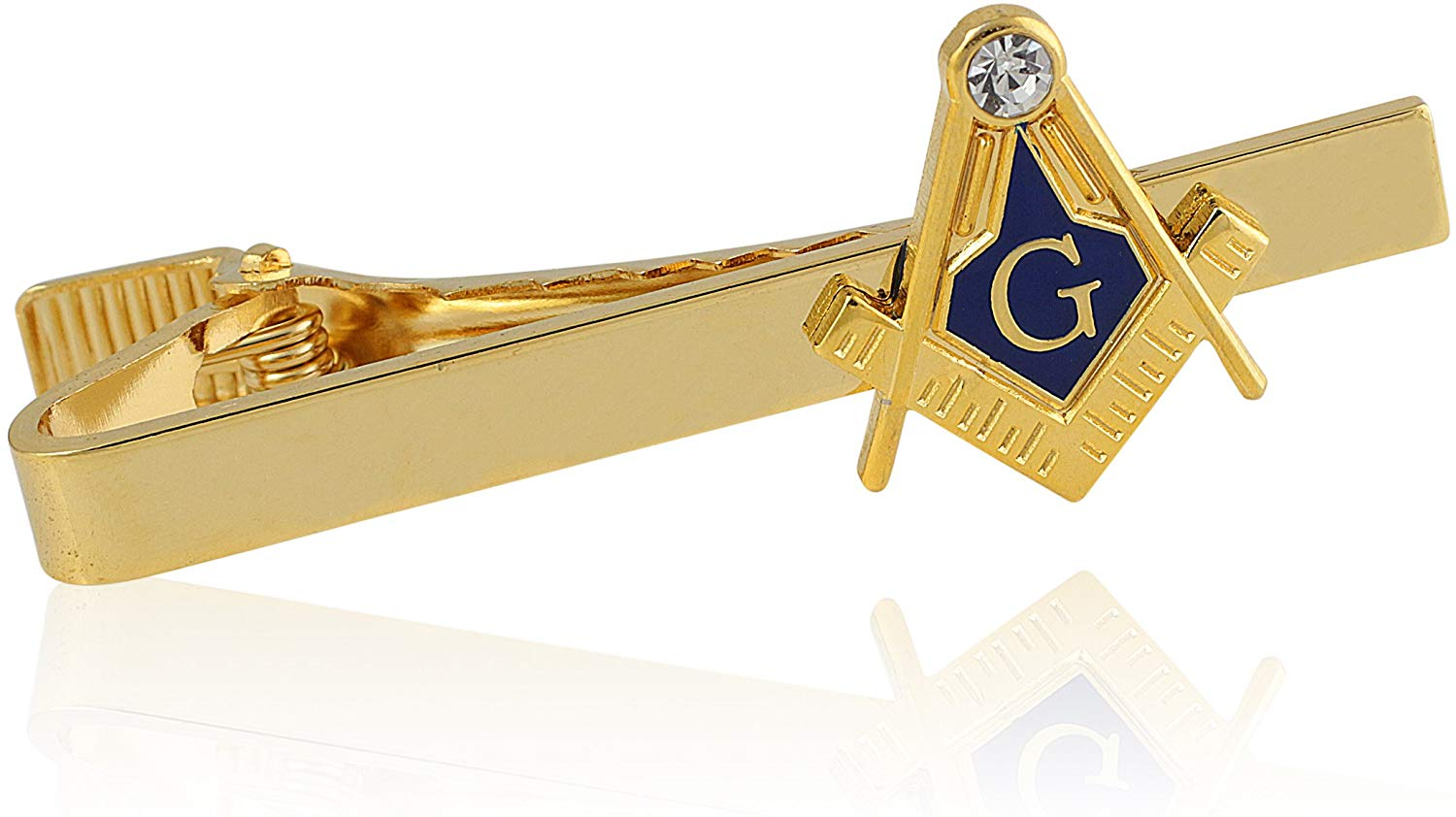 Compass and Square Gold Toned Masonic Tie Clip - SolomonsOrder