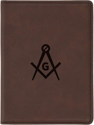 Freemason Brown Leather Passport Holder - SolomonsOrder