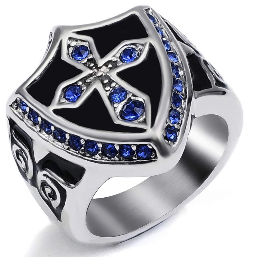 Cross Noble Knight Stainless Steel Ring