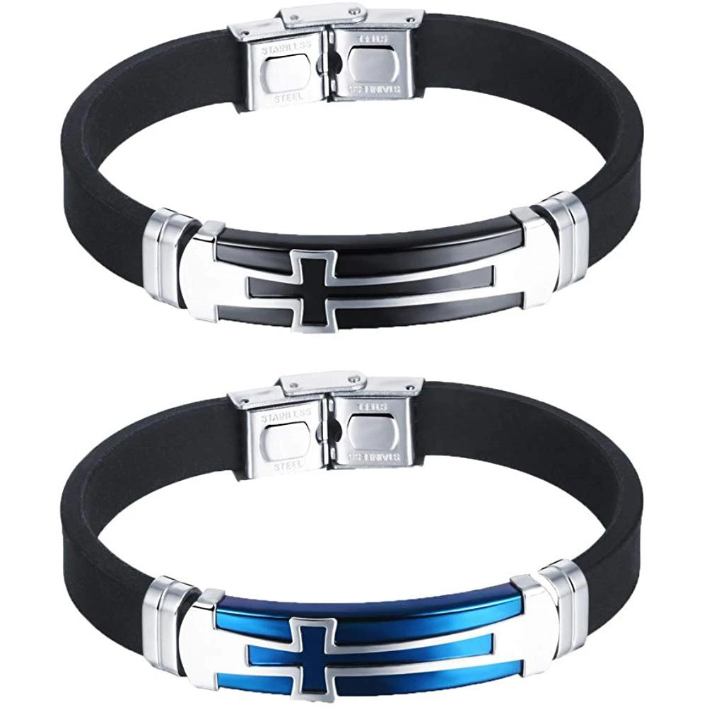 Cross Stainless Steel Silicone Sport Bracelet