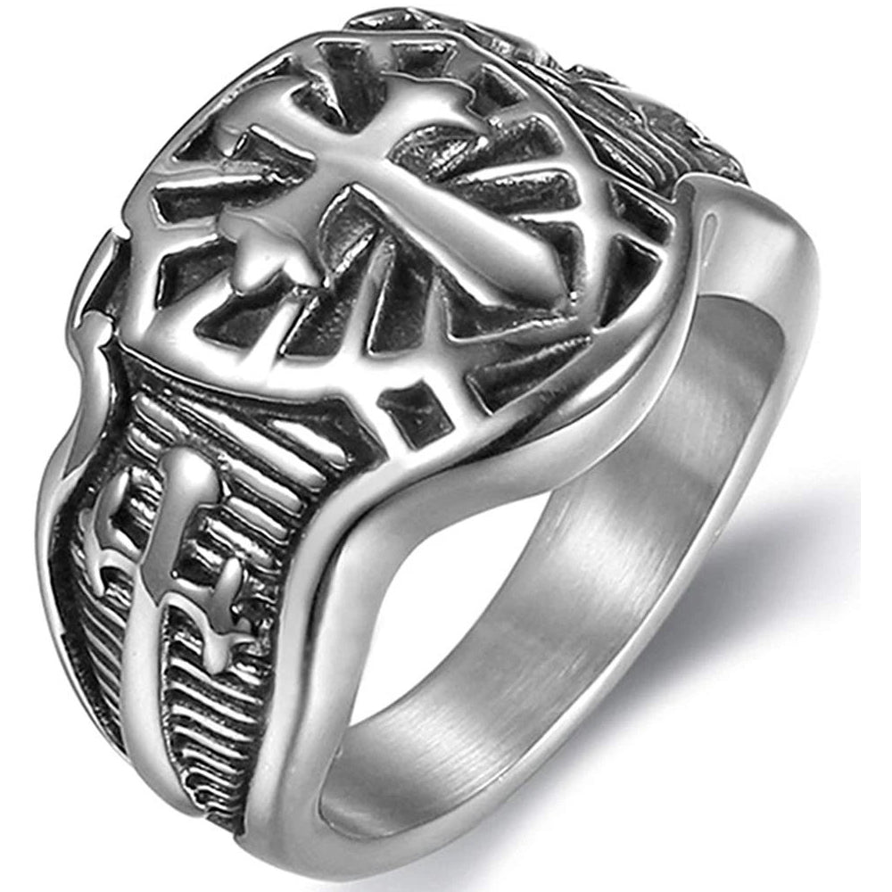 Crusader Sword Cross Medieval Shield Ring