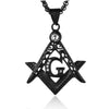 Cubic Zirconia Masonic Stainless  Pendant Necklace