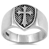 KNIGHTS TEMPLAR MEDIEVAL CROSS SILVER RING