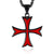 Red/Black Crusader Cross Knight's Templar Necklace