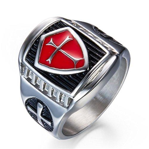 Red Cross Shield Knight's Templar Ring - SolomonsOrder