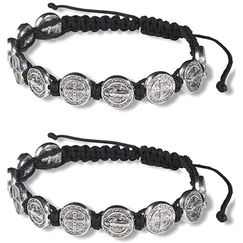 Saint Benedict Medal on Adjustable Black Cord Wrist Bracelet