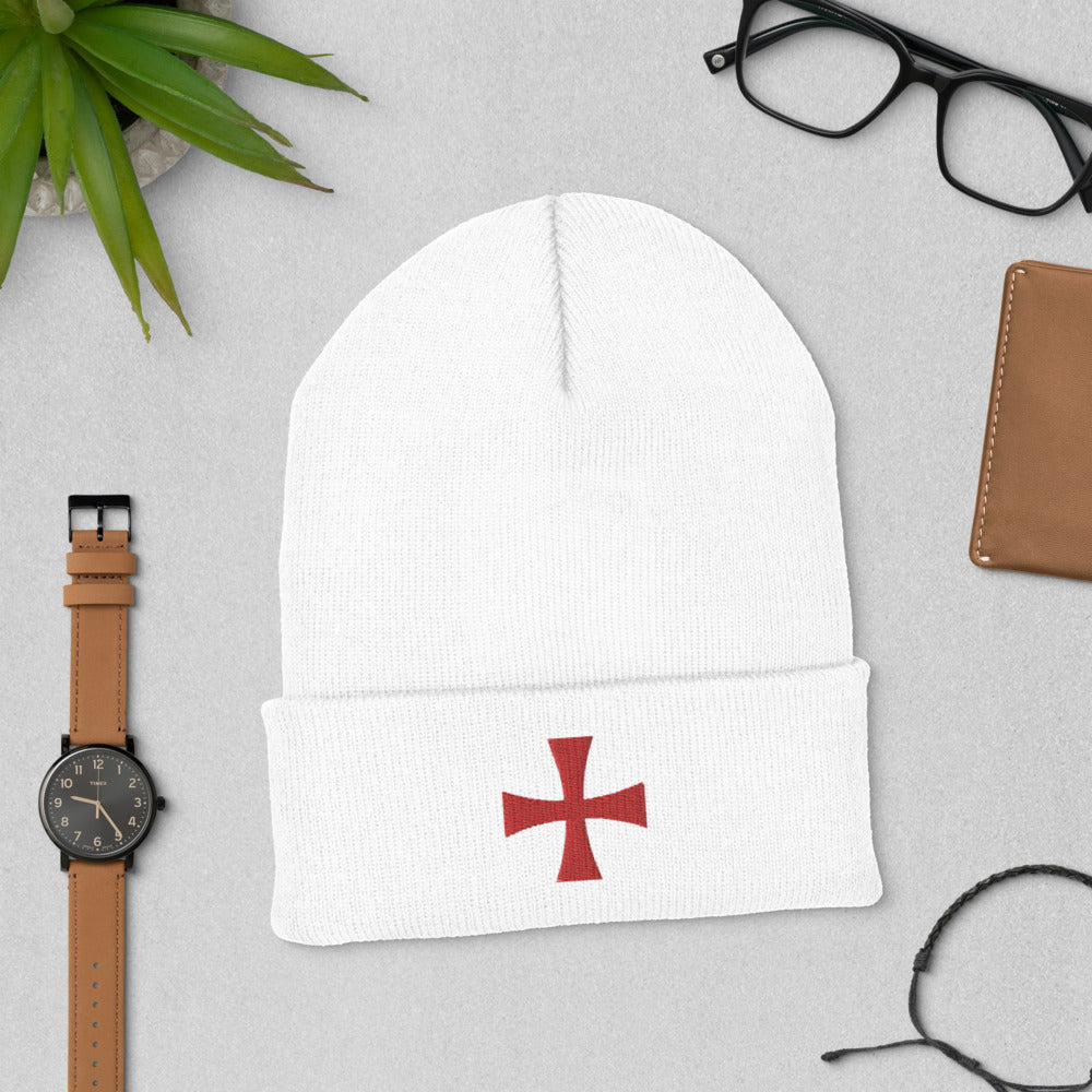 """Knight Templar Cross"" Cuffed Beanie"