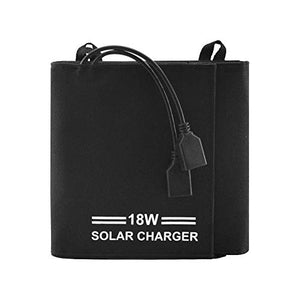 Portable 18W Solar Charger, 5 Large Solar Foldable Panels, with 2-Port USB Charger Build with High Efficiency Solar Panel Cell for Faster Charges of powerbanks, iPhone, Smartphone, and Other 5V Device