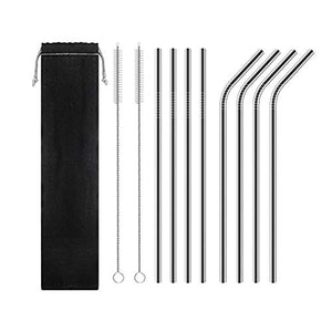 Stainless Steel Straws |Metal Drinking Straws | Set of 8 with Clean Brushes | FDA Approved