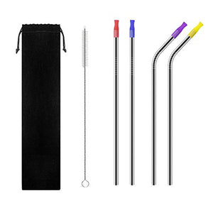 "10 BEST Stainless Steel Straws | Reusable straws |Set of 4 with Clean Brushes | 10.5""with silicone"