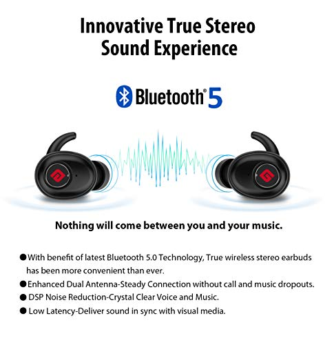 True Wireless Earbuds Bluetooth 5.0 Headphones, Sports in-Ear TWS Stereo Mini Headset w/Mic Extra Bass IPX5 Sweatproof Low Latency Instant Pairing 15H Battery Charging Case Noise Cancelling Earphones