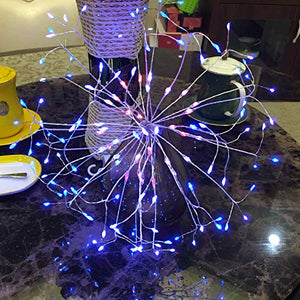 Pretty Hanging Starburst Light | Outdoor String Lights |198 Led Micro Lights | Blue White