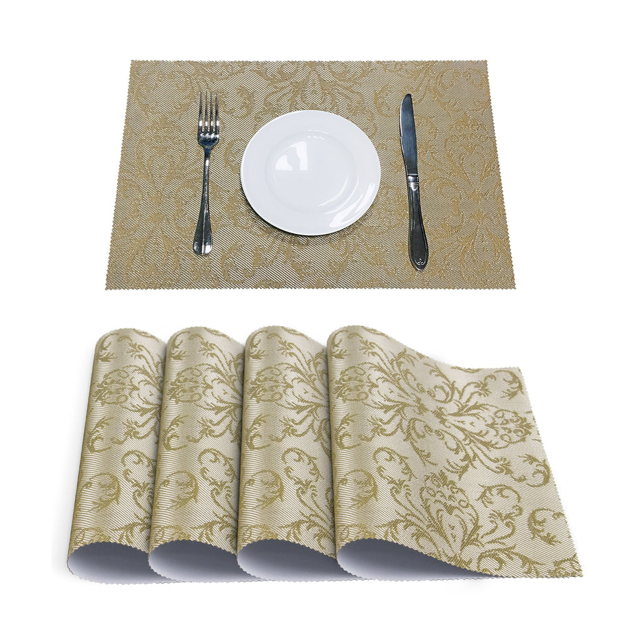 Beautiful Gold placemats |Waterproof Heat Stain Resistant Placemats for Dining Table | Set of 4