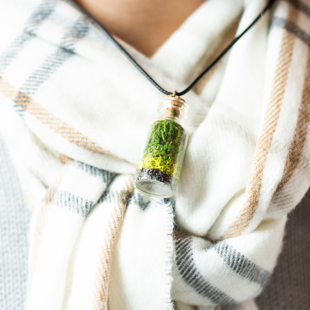 Living Necklace - Black cord - Green Earth Terrarium LLC