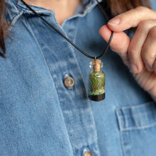 Load image into Gallery viewer, Living Necklace - Black cord - Green Earth Terrarium LLC