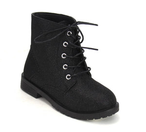 Aurora Combat Boots in Black (Toddler/Kids)