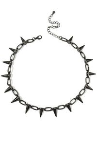 Spiked Choker Necklace in Gunmetal