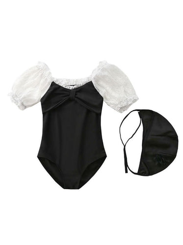 Goth Doll Bathing Suit and Matching Cap (Kids)