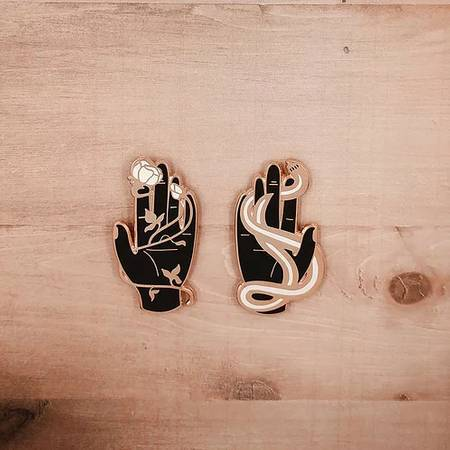 Serpent & Rose Palms Enamel Pin Set