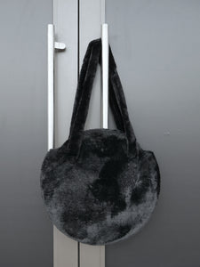 Furry Black Tote Bag
