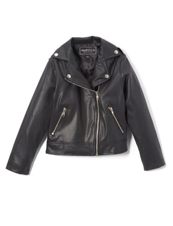 Wolfe Vegan Biker Jacket in Black (Kids)