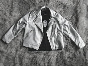 Silver Pleather Biker Jacket (Kids)