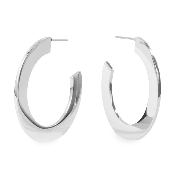 Silver minimal bold hoop earrings hypoallergenic T119E006AR MIA JEWELRY