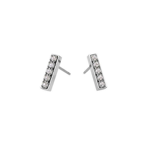 pearls bar stud earrings stainless steel boucles oreilles acier inoxydable MIA T219E004