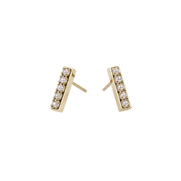 Pearl stud earrings stainless steel Boucles d'oreilles acier inoxydable MIA T219E004DO